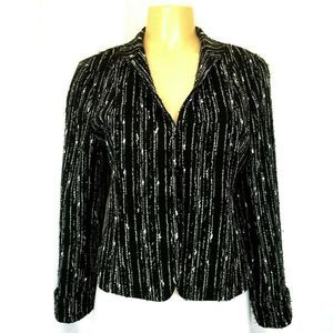 LAFAYETTE 148 Wool Blazer Jacket Textured Black 10